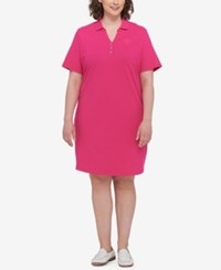 Tommy Hilfiger Plus Size Polo Shirtdress Hibiscus