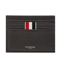Thom Browne Pebble Grain Leather Four Bar Double Sided Cardholder Grey