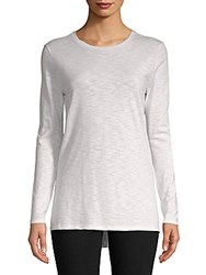 Saks Fifth Avenue Side Slit Crewneck Tunic White Pink