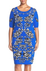 Adrianna Papell Scoop Neck Jacquard Sweater Dress Plus Size Cobalt Multi