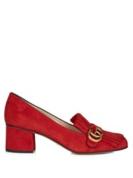 Gucci Marmont Fringed Suede Loafers Red