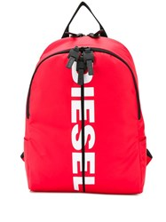 Diesel Pu Backpack With Logo Red