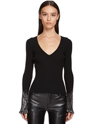 Ermanno Scervino Viscose Knit Sweater W Crystals Black