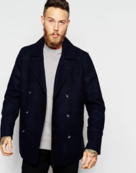 Asos Wool Peacoat In Navy
