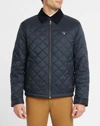 Gant Navy Quilted Jacket With Corduroy Collar Blue