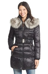 Women's Betsey Johnson Faux Fur Collar Belted Quilted Coat