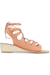 Ancient Greek Sandals Antigone Lace Up Leather Wedge Sandals Sand Blush