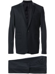 Les Hommes Single Breasted Perforated Collar Suit Black