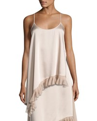 Elizabeth And James Angela Sleeveless Asymmetric Satin Top Nude