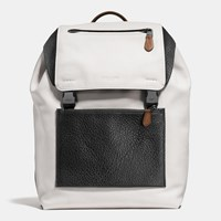 Coach Manhattan Backpack In Mixed Leather Qb Chalk Black