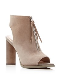 French Connection Utarra Zip Up Open Toe Booties Earth