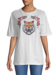 Lea And Viola Tiger Rose Cotton Tee White