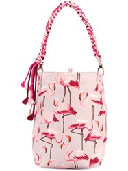 Red Valentino Flamingos Print Shopping Bag Women Polyester One Size