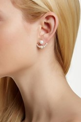 18K Gold Plated Sterling 4 8Mm Shell Silver Pearl Ear Jackets White