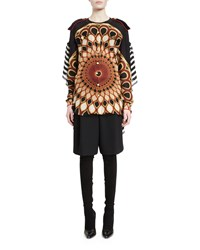 Givenchy Button Front Peacock Print Blouse Multi Colors Women's