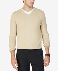 Nautica Men's Big And Tall V Neck Sweater Oatmeal Heather