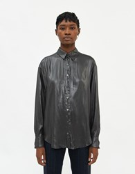 Stelen Trude Metallic Shirt In Charcoal Size Extra Small