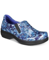 Easy Street Shoes Works By Bind Slip Resistant Clogs Women's Blue Mosaic Patent