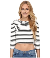 Bb Dakota Corsbie Stripe Ponte Top White Women's T Shirt