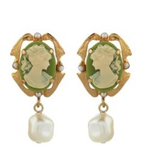Dolce And Gabbana Cameo Drop Clip On Earrings Gold
