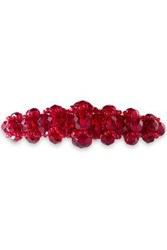 Ben Amun Woman Silver Tone Beaded Hair Clip Claret