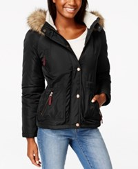 American Rag Faux Fur Trim Hooded Parka Only At Macy's Classic Black