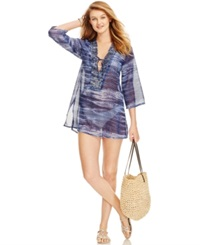 Raviya Tribal Print Beaded Cover Up Women's Swimsuit Blue