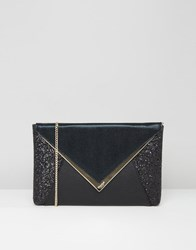 Dune Sequin Mix Clutch Bag Black Metallic