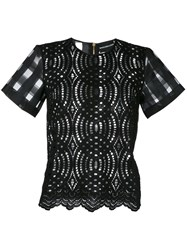 Marco Bologna Lace T Shirt Women Cotton Polyamide 44 Black