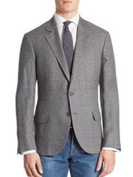 Brunello Cucinelli Windowpane Wool Blend Plaid Jacket Grey
