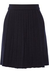 Chinti And Parker Pleated Wool Blend Skirt Navy