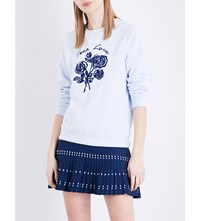 Sandro Floral Embroidered Jersey Sweatshirt Sky Blue