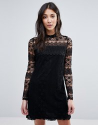 Vila High Neck Long Sleeve Dress Black