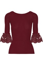 Oscar De La Renta Corded Lace Trimmed Ribbed Merino Wool Top Burgundy