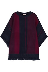 Tory Burch Fringed Striped Merino Wool Poncho