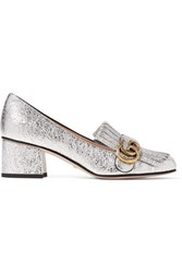 Gucci Marmont Fringed Metallic Cracked Leather Loafers Silver
