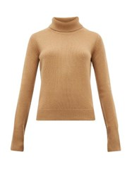 Joseph Slashed Cuff Cashmere Roll Neck Sweater Camel