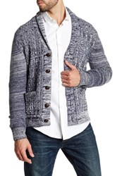 Barque Marled Cable Knit Wool Blend Cardigan Blue