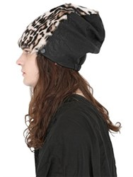 Cutuli Cult Leopard Printed Fur And Leather Beanie Hat