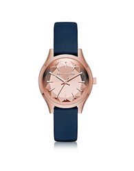 Karl Lagerfeld Belleville Rose Gold Tone Pvd Stainless Steel Women's Quartz Watch W Blue Leather Strap