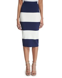 Kendall Kylie High Waist Wide Striped Pencil Skirt Women's