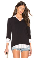 Bailey 44 Trompe L'oeil Sweater Knit Top Navy
