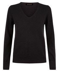 Jaeger Cashmere Double Trim Sweater Black