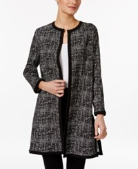 Alfani Long Jacquard Jacket Only At Macy's Textured Cross Black White