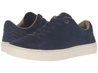 Toms Lenox Sneaker Navy Suede Women's Lace Up Casual Shoes Blue