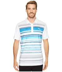 Puma Washed Stripe Polo Pwrcool Bright White True Blue Men's Short Sleeve Knit