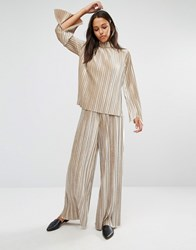 Glamorous Velvet Plisse Flared Trousers Co Ord Champagne Cream