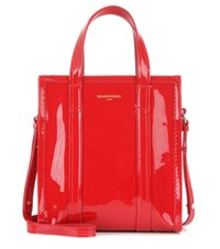 Balenciaga Bazar Xs Patent Leather Shopper Red