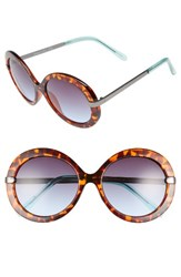 Sam Edelman Women's Circus By 55Mm Round Sunglasses Tortoise Teal Tortoise Teal
