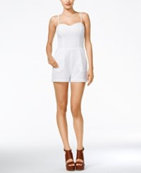 Guess Elise Sleeveless Eyelet Romper True White